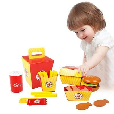 Child Kids Pretend Play Food Toy Wooden Burger Fries Fast Food Deluxe Dinner Set