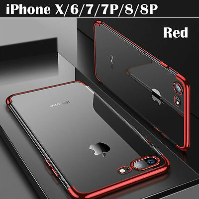 Luxury Ultra Slim Shockproof Silicone Clear Case Cover for iPhone X 6S 7 8 Plus
