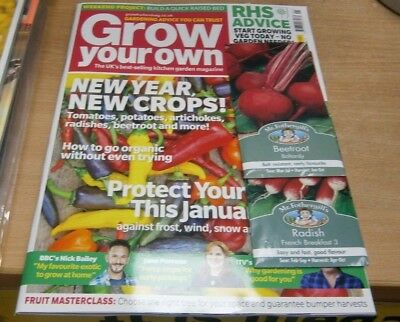Grow Your Own magazine Jan 2019 New Year New Crops, RHS Advice & more + Seeds