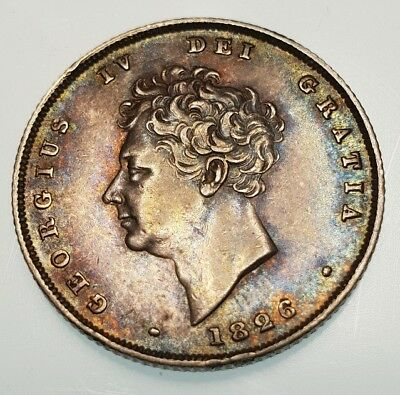 Rare Stunning 1826 george iv bare head silver six pence coin Unc Sixpence 6d