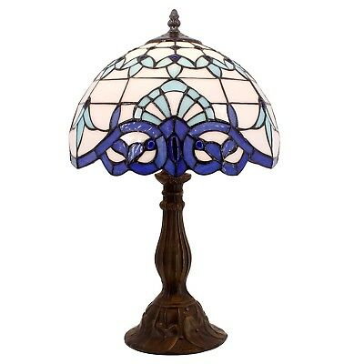 Tiffany Lamp White Blue Baroque Stained Glass Lampshade Antique Style Base Ta...
