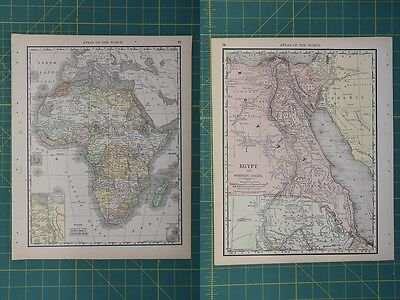 Africa Egypt Vintage Original Antique 1892 Rand McNally World Atlas Map Lot