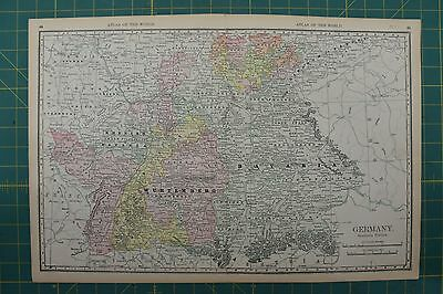 Southern Portion Germany Vintage Original 1892 Rand McNally World Atlas Map