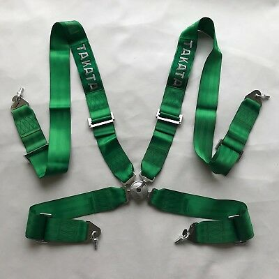 "Universal Green 4 Point Camlock Quick Release Racing Car Seat Belt Harness 3""W#2"