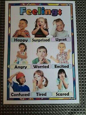 Childrens emotions feelings A4 poster discussion display OFSTED childminder SEN
