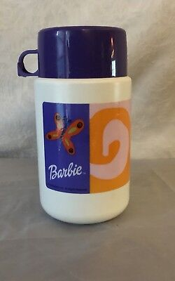 Vintage Barbie White Purple Plastic Lunchbox Thermos