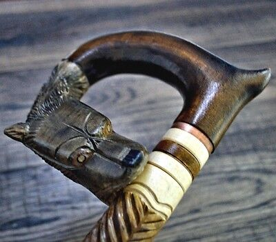 Unique Wooden Walking Stick Cane Hiking Staff hand carved Handmade Goat