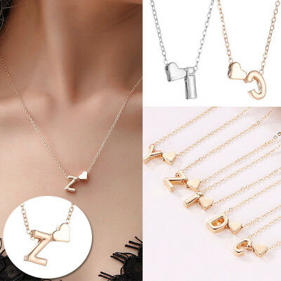 26 Letters Women Gold Silver Tiny Love Heart Choker Necklace Pendant Jewelry New