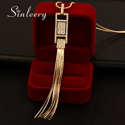 Wholesale 10 pcs Shining Crystal Tassels Pendant Long Necklace Women Gold Silver