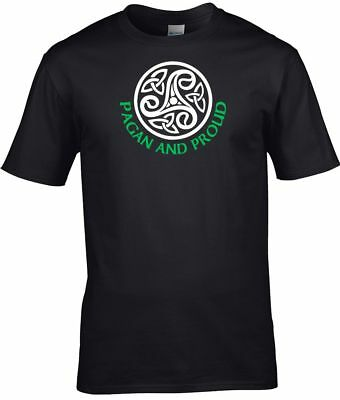 Pagan T Shirt Pagan and Proud with Celtic Pattern Mens Witch Wicca Druid S-3XL