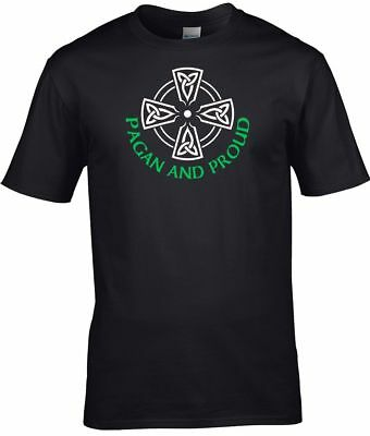 Pagan T Shirt Pagan and Proud with Celtic Cross Mens Witch Wicca Druid S-3XL
