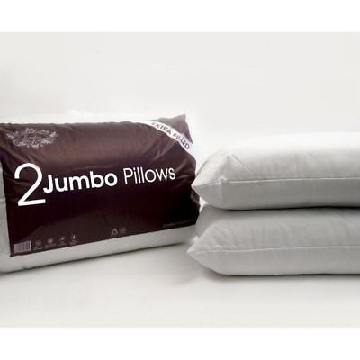Pillows Hollowfibre Jumbo Bed Extra Filled Hotel High-Quality Pack of 2 4 & 6