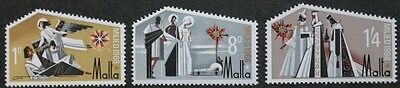 Christmas stamps, Malta, 1968, Mary & Joseph, SG ref: 409-411, 3 stamp set, MNH