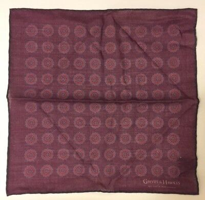 GIEVES & HAWKES Pocket Square, Made in UK,  Dark Red/ Blue Wool Silk Medallion
