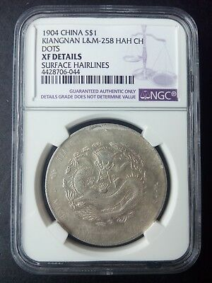 Y-145a.13 L&M-258 1904 China Kiangnan Silver Dollar $1 NGC XF Details Hairlines