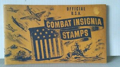 Vintage US 1943 WWII Combat Insignia Poster Stamps in Album