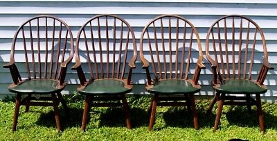4 Vintage Hunt Country Furniture NY Set of 4 Hoop Back Windsor Dining Armchairs