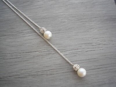 44sw Clip on Backdrop for a Necklace made with Swarovski Pearls Bride Bridesmaid