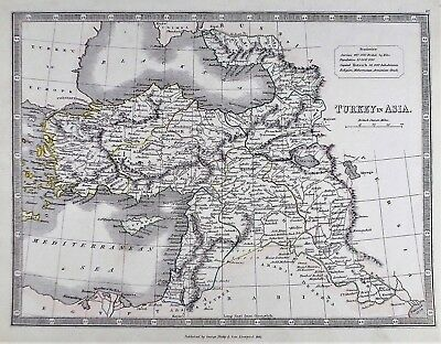 OLD ANTIQUE MAP TURKEY in ASIA CYPRUS c1852 by G PHILIP OUTLINE HAND COLOUR