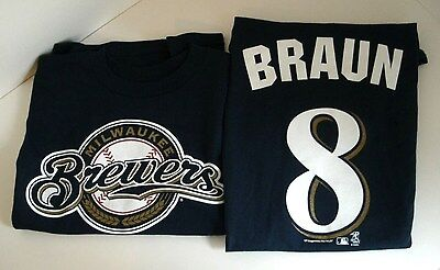 Milwaukee Brewers Ryan Braun #8 Licensed Youth T Shirt Blue NWT Free Shipping