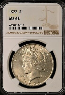 1922 Peace Silver Dollar - NGC MS62 - BRILLIANT UNCIRCULATED - #133-017
