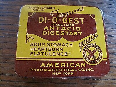 Vintage Medicine Tin Lithography  Di-O-Gest Antacid, Brown, Yellow.