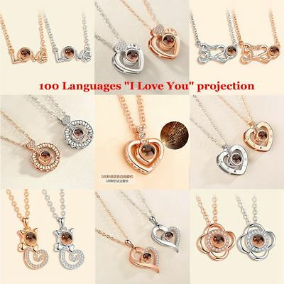I LOVE YOU in 100 languages Pendant Necklace Romantic Day Christmas-Gift