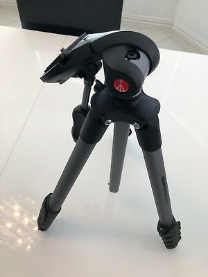 Manfrotto MKCOMPACTADV-BK Compact Advanced Tripod With 3 Way Head, Black