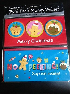 1 Twin Pack Of Christmas Money Wallets Ideal As Gifts Or Presents
