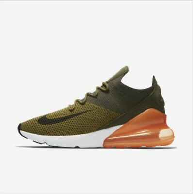 Nike Air Max 270 Flyknit Olive Black Orange White AO1023-301 Running Shoes Mens