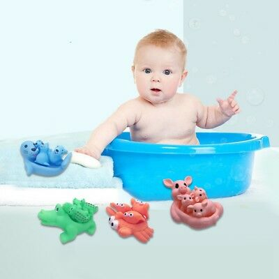 Baby Bathing Time Squeaky Toys Kids Shower Cute Floating Rubber Animal Toys 1PC