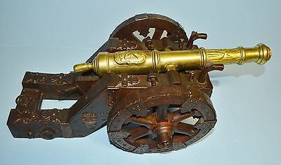 """Rare Vintage Spanish Brass Bronze Signal/Other Cannon 15"""" Barrel Hand Made Parts"""