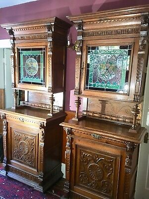 Spectacular Pair of Antique French Breton Leaded Glass Oak Cabinets ca.1920's