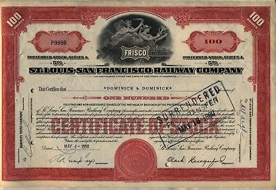 St. Louis San Francisco Railway Stock Certificate Railroad Frisco Red Missouri