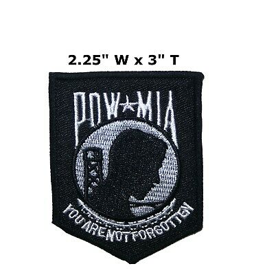 5e9d22e3 Black POW MIA Biker Patch Motorcycle Jacket Vest Military Iron on  Embroidered