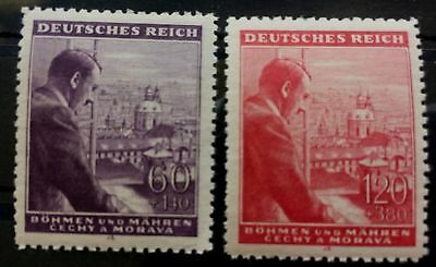 Germany Rare Nazi WWII WW2 WK2 2 stamps Hitler Birthday in the Window MNH