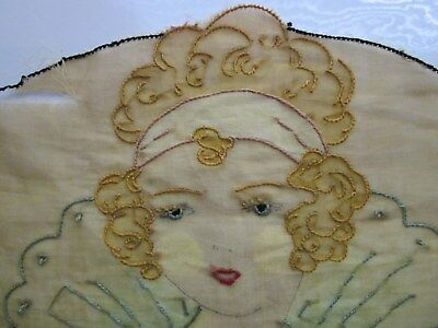 Antique Hand-Embroidered Princess Good Witch Flapper Gold 100% Cotton Unique+