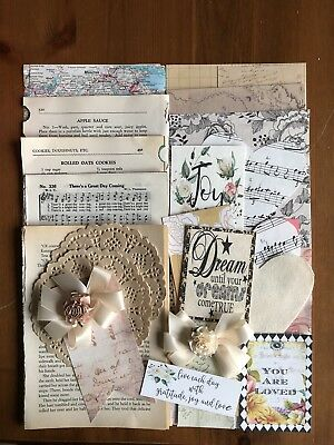 Junk Journal Kit, 0ver 50 Items, Vintage Book Pages, Tags, Scrapbooking Supplies
