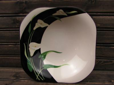 Black Lilies Quadrille by Sango Coupe Soup Bowl Black Background White Lilies