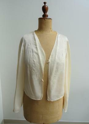 Vintage 1930's Ladies Bed Jacket - Cream Silk with Floral Embroidered Detail