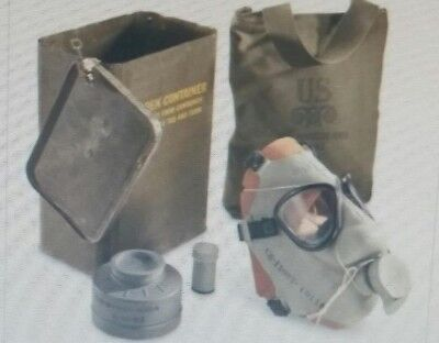Gas Mask with Filter and Pouch in Can, U.S. Military Surplus COLD WAR ERA 50'S