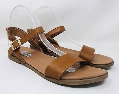 40bf2c8e4042 STEVE MADDEN WOMENS Dina Tan Leather Ankle Strap Flats Size 7 (81999 ...