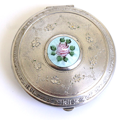Vintage Loose Powder Compact Engraved Silver Guilloche Enamel with Rose Mirror