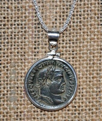Authentic Ancient Coin Roman Emperor Licinius Charm 925 Sterling Silver Necklace