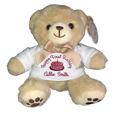 Personalised embroidered teddy bear new baby first birthday gift present girl