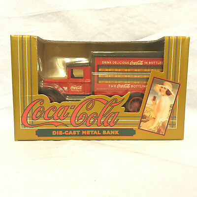 Coca Cola Diecast Metal Bank Delivery Truck 1993 Red