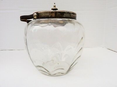 ANTIQUE Glass BISCUIT JAR W/silver plated Lid & Mounts ENGLISH HALLMARKED CHEAP!