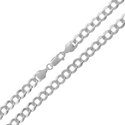 """14k White Gold Mens Womens 5.5mm Solid Cuban Curb Link Necklace Chain 20"""" - 28"""""""