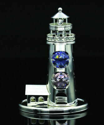 Swarovski Color Crystal Element Studded Lighthouse Figurine Silver Plated