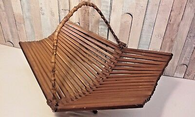Vintage Mid Century Danish Style Wooden Fruit Bowl Dish Folding Bamboo Handle